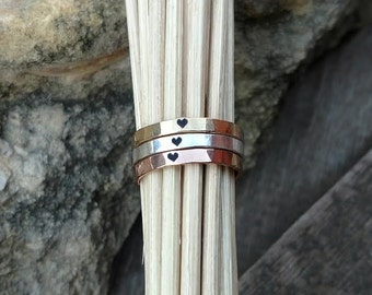 Dainty Heart Ring Stackable Stacking Rose Gold Gold Sterling Silver Hammered stacking rings