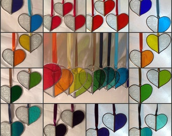 "Stained Glass Love Heart Sun Catcher,Antique Etched Glass+Any Colour,Window/Wall Decoration,Romantic Gift,2.5"" x 2.5"""