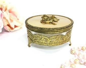 Ormolu 24 KT. Gold Plated Filigree Powder Jar, Gold Ormolu Cosmetic Jar For Vanity, Boudoir, Gold Trinket Box #A969