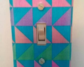 Cool Modern Geometric Decoupaged Light Switchplate Cover, Wall Art, Handmade, Switchplate Cover, Made By Mod.