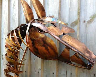 Copper horse head wall sculpture, equine art, stable wall art