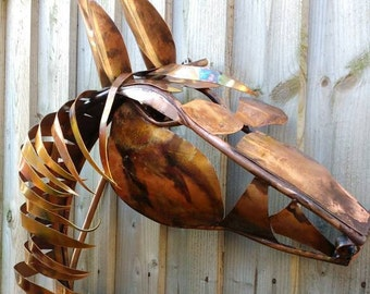 Copper horse head wall sculpture
