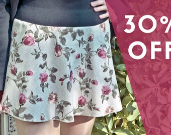 SALES, 30% OFF, Romantic skirt, size L, pink flowers print, short skirt, elastic waistband, vintage print, mini skirt , flowers skirt