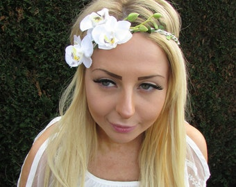 White Orchid Flower Garland Headband Hair Crown Festival Boho Headpiece 1725