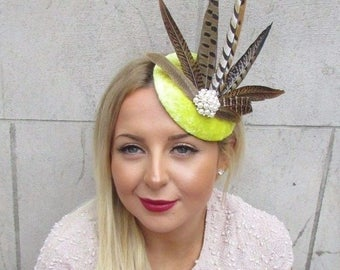Yellow Ivory Brown Pheasant Statement Feather Fascinator Hair Clip Hat Vtg 2579