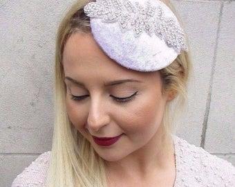 Lilac Light Purple Silver Velvet Pillbox Hat Fascinator Hair Vtg Races Clip 2688