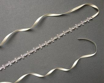 Silver Bridal Sash | Silver Bridal Belt | Rhinestone Bridal Belt | Crystal Bridal Sash | Boho Wedding Sash | Silver Aria Bridal Sash