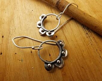 Sterling Silver Bohemian Flower Earrings. Silver Dangle Earrings. Artisian Jewelry. Handmade Earrings. Gift for her. Botanical Jewelry