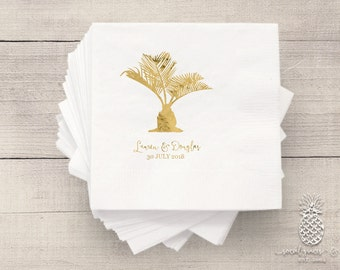 Wedding Napkins | Personalized Napkin | Tropical Sago Palm Napkins