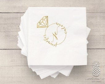 Bride and Groom Infinity Ring | Customizable Cocktail Wedding Napkins | social graces and Co