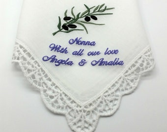 Gorgeous Lace Edged White Cotton Handkerchief/Hanky for Nonna, with an Embroidered Olives Branch.