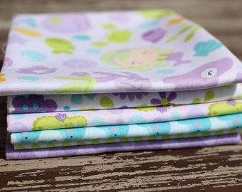 "Mermaid Fabric,  Riley Blake Designs ""Under The Sea"" in Purple, 6 Piece Fat Quarter Bundle, Cotton"