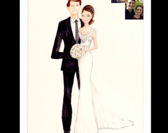 Bride and groom - portrait - illustration - sketch - custom - wedding gift