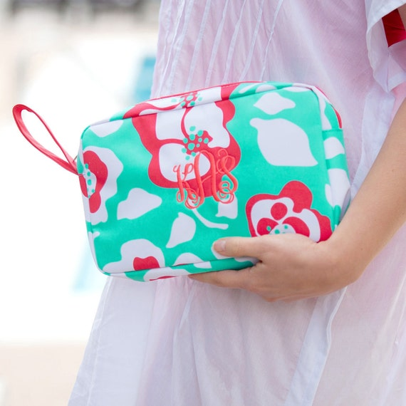 Monogrammed Makeup Bags Accessory Bags Bridesmaid Gifts Weddings Beach Weddings Floral Makeup Bag Coral Mint Travel Bags Highway12Designs