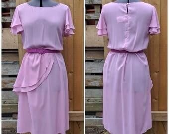 Vintage 1980's MEMORIES Sheer Mauve Pink Knee Length Belted 100% Polyester Party Evening Dress