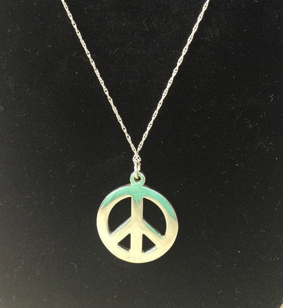 "Vintage Navajo 1970's Sterling Silver Peace Pendant Necklace 9.4 grams 18""  Hippy Sterling Peace Pendant Native American  Navajo Necklace"