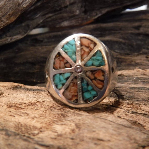 Mens Ring Navajo Signed bear paw Sterling Native American 9.5 grams Size 11.5 Mens large Silver Navajo Vintage Turquoise  Ring Mens Jewelry