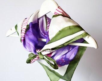 Square silk scarf,purple silk scarf,small square scarf,square scarf silk,floral silk scarf,flower scarf,large square silk scarves