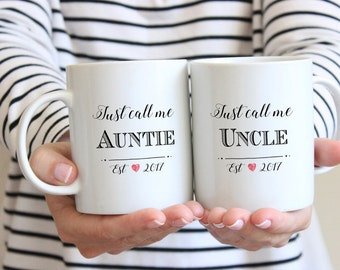 Aunt and Uncle Mugs, Pregnancy Reveal To Siblings, Pregnancy Announcement Aunt and Uncle, Personalized Mug set, future Aunt and Uncle
