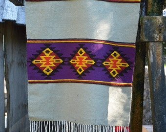 Unique handwoven wool rug in grey, purple, red and yellow with kilim motifs