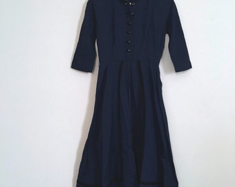 Vintage 1940s Day Dress - Navy Blue Dress - Embroidered Dress