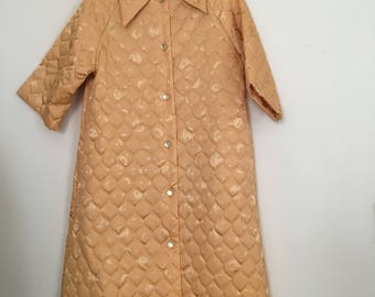 Vintage 1950s Bed Jacket - Quilted Bed Jacket with Moon and Stars Print - 50s Quilted Jacket