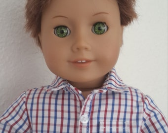 """Navy and red check button up shirt for 18"""" Boy Doll -  boy doll shirt - 18 inch boy doll clothes-  boy shirt"""