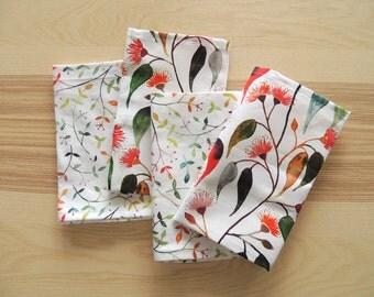 Watercolour eucalyptus floral cloth napkin set of four