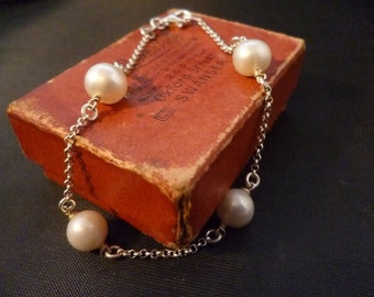 """Pearl and sterling silver bracelet - 925 - 7"""""""