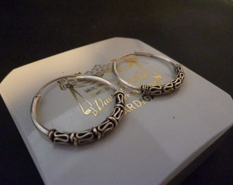 "Vintage sterling silver hoop earrings - 925 - 1"" x 1"""