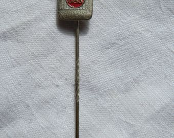 1960's HAK Food Products Red and Silver Tone Dutch Advertising Metal Stick Pin / Lapel Badge