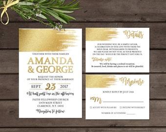 Gold wedding invitation, Printable wedding invitation set, Elegant wedding invitations, Printable wedding invitation suite, Modern wedding
