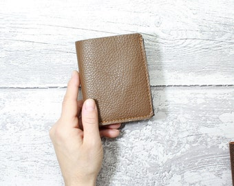 TRIFOLD Leather Wallet - italian leather CAPPUCCINO and CHOCOLATE - trifold wallet - mens wallet - Minimal wallet for men - Coin Purse