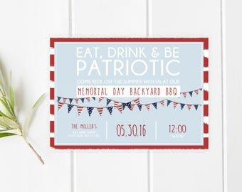 Memorial Day Party Invitation, Memorial Day BBQ, Memorial Day Party, Summer Party, Backyard BBQ Invitation, BBQ Invitation, Summer [463]