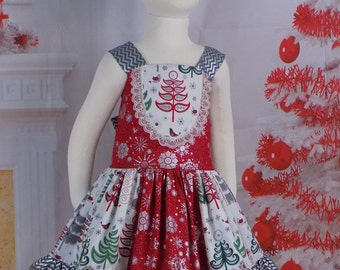 Girls, Christmas Dress, Toddler, Outfit, Teen, Holiday Dress, Red, Silver, Tree, Snowflake, Juniors, Tween, Party, School, Pictures, Ruffles