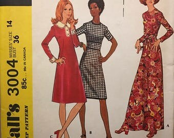 McCalls 3004 - 1970s How to Sew A Line Maxi or Knee Length Dress with Detachable Collar - Size 14 Bust 36