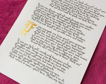 IF - Calligraphy Handwritten Poem by Rudyard Kipling - Gift for Father's Day, Inspirational Motivational Poem - Print Available A4/A3