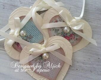 Handmade Gift Tags, Heart Gift Tags, Weddings, Birthdays