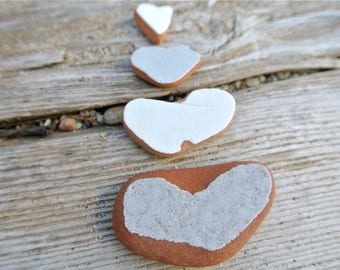 Sea Pottery Hearts, 4pcs, Beach Pottery, Collectibles, Craft Supplies, Beach Finds, Genuine Sea Pottery, Heart Shaped Ceramics