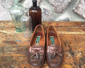 Vintage 80s-90s Cole Haan Brown Woven Leather Moccasin Loafers / Tassels / Slide On Shoes / Made in the USA / Women's Size 5.5