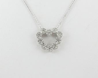 "14 K White Gold Diamond Heart Pendant Necklace 16"" 1.00 carat"