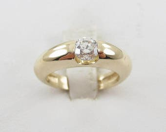 14k Yellow Gold Diamond Solitaire Engagement Ring 0.50 carat Size 5