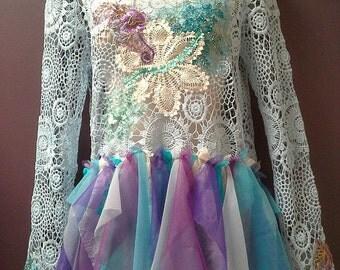 CROCHET TOP, fairy top, blue crochet boho top, tutu top, bohemian clothing, doily top, purple blue white aqua, long bell sleeve, mermaid top