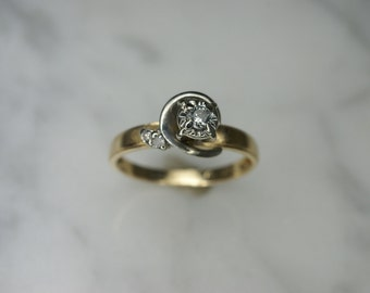 14k Yellow Gold, 14k White Gold, and Diamond Ring
