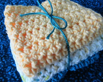 Hand Crocheted Dishcloths / Washcloths / Kitchen/ Nursery/ Spa
