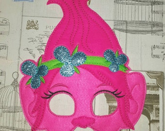 Poppy trolls inspired mask ITH Project In the Hoop Embroidery Design Costume, Cosplay, Fancy dress, Masquerade, Photo booth, Prop.