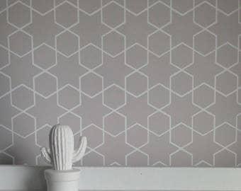 Removable Wallpaper, wallpaper, grey wallpaper, star wallpaper, Morocco print, Peel and stick wallpaper, Removable wallpaper, self adhesive