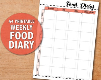 Printable Food Diary - A4 Food Log Page | Food Diary Sheet | Contemporary Pink | Weight Loss | Health and Fitness | PDF Digital Download