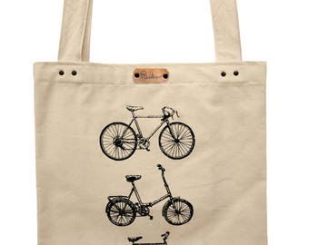 Bicycles  - hand printed cotton tote bag
