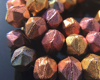 Metallic Color Mix English Cut Beads, Czech Glass Rough Cut Beads, Small English Cut Beads in Assorted Colors, 7mm - 15 beads (ENG-15)